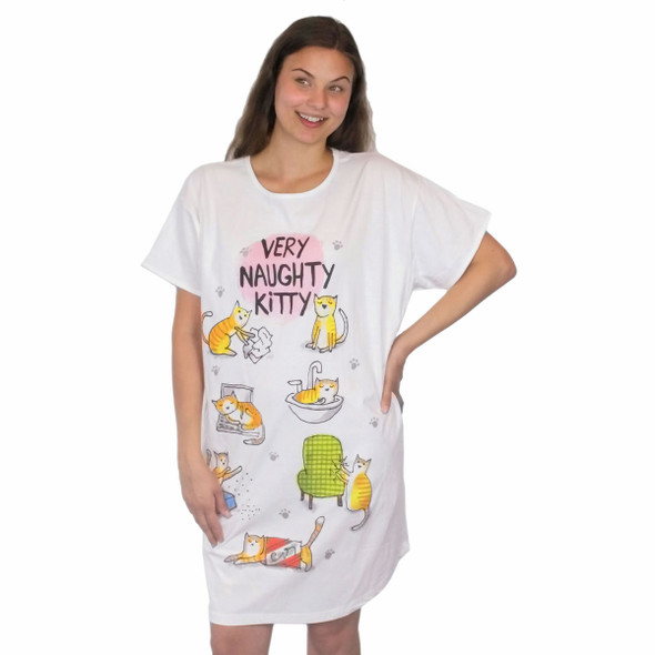 Naughty Kitty Cat Theme Sleep Shirt Pajamas - 788OT