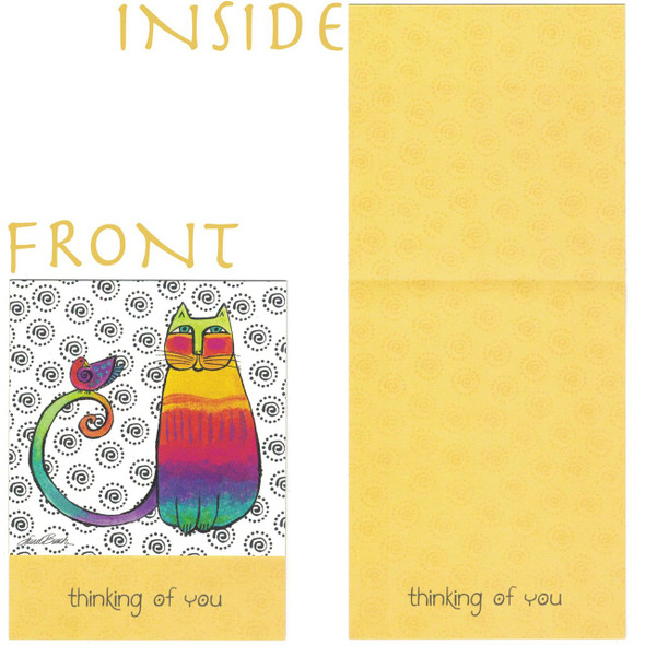 "Laurel Burch Small Card Blank - ""Thinking of You - Both the front and inside"