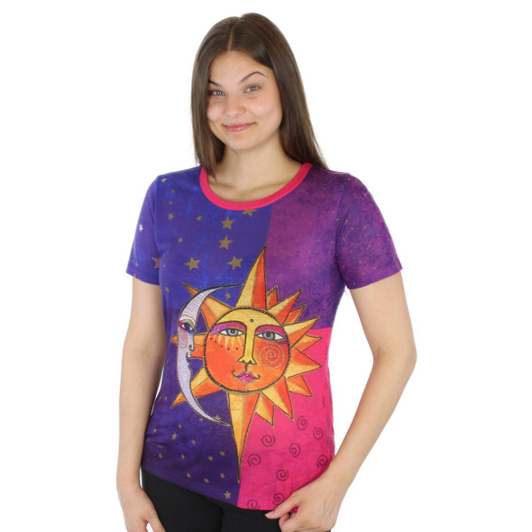 Laurel Burch Tee Shirt Sun & Moon LBT039