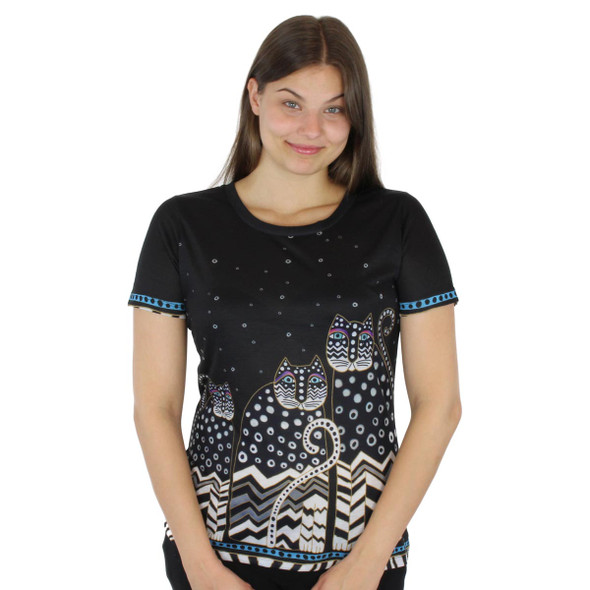 Laurel Burch Tee Shirt Polka Dot Gatos LBT037