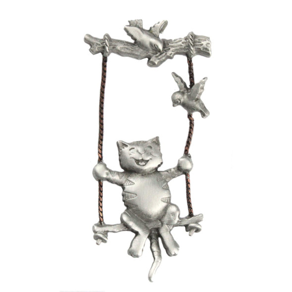 Cat on Tree Swing Lapel Clutch Pin Pewter - 1086CP
