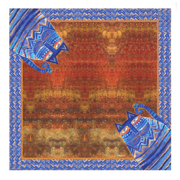Laurel Burch Azul Cat Artistic Square Scarf LBSQ302