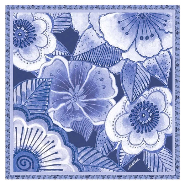 Laurel Burch Indigo Flowers Artistic Square Scarf LBSQ304