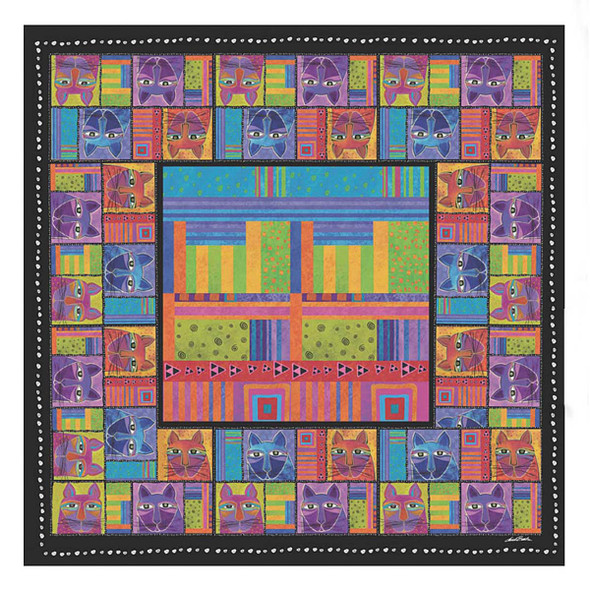 Laurel Burch Whisker Cats Artistic Square Scarf LBSQ305