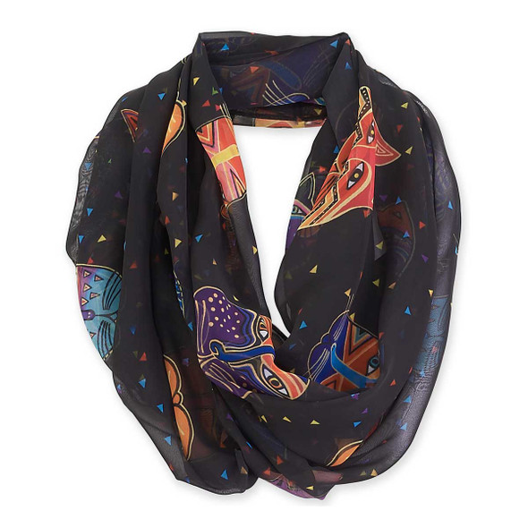 Laurel Burch Feline Faces Artistic Infinity Scarf Black LBI202a
