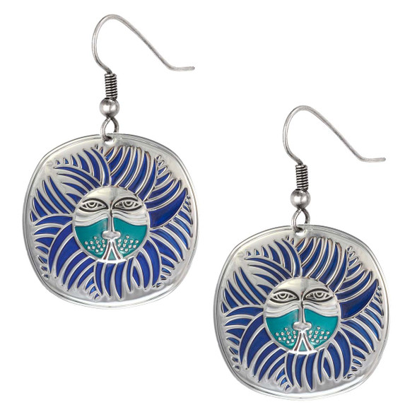 Soliel Lion Laurel Burch Earrings Blue 5001
