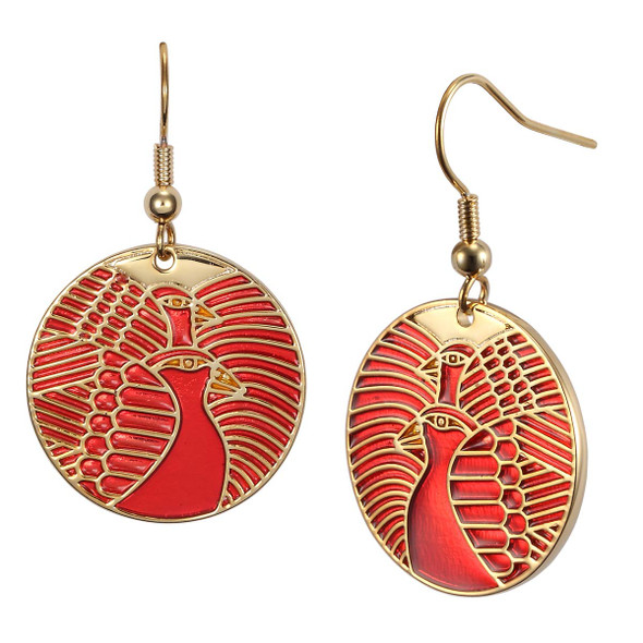 Moon Doves Laurel Burch Earrings Red 5013