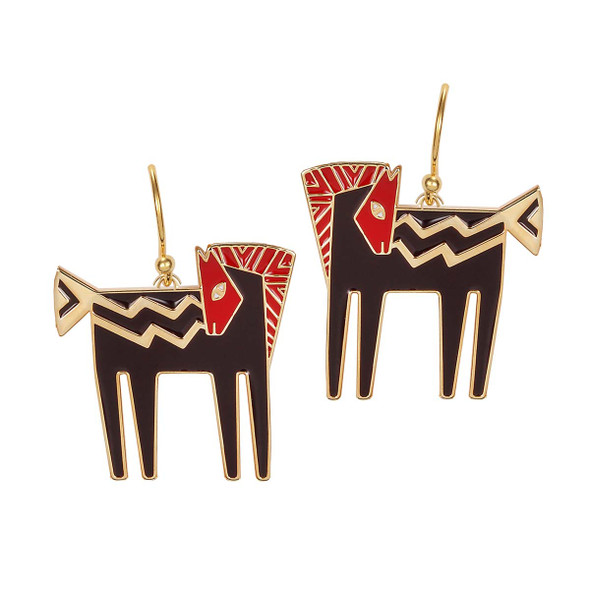 Temple Horse Laurel Burch Earrings Black-Red-Gold 5014