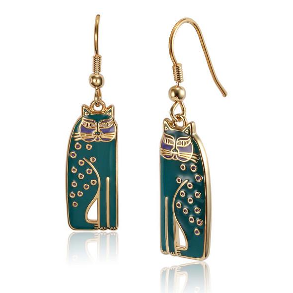 Siamese Cats Laurel Burch Earrings Green 5018