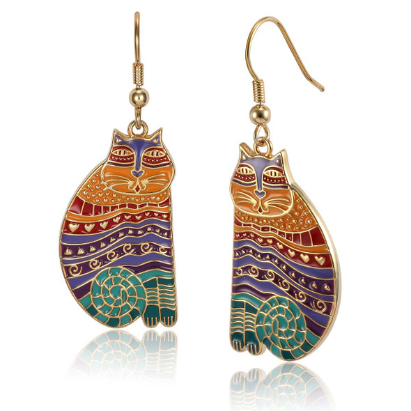 Rainbow Cats Laurel Burch Earrings Bright Multi 5026