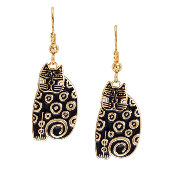 Sundry Cat Laurel Burch Earrings Black-White 5031