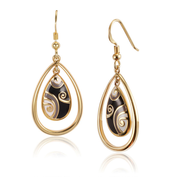 Primal Tear Laurel Burch Earrings Black-Cream-Gold 6002