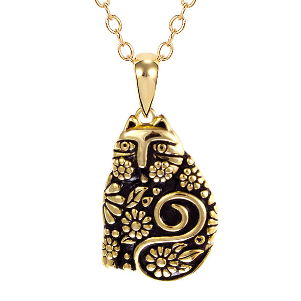Flowering Feline Gold Laurel Burch Necklace 4011