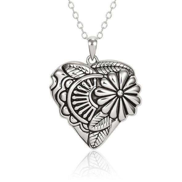 Flowering Heart Sterling Laurel Burch Necklace 4024