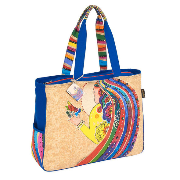 Laurel Burch Rose With Bird Oversized Tote LB5790