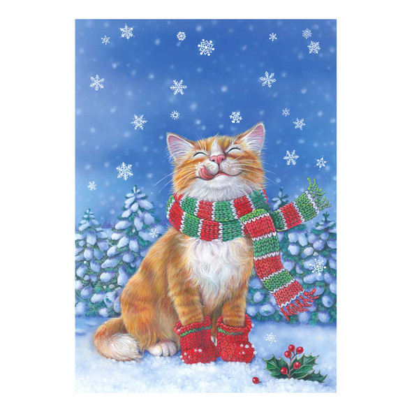 Snowflake Cat Winter Snow Garden Flag - 119376