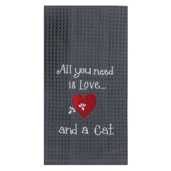 Love Cat Embroidered Waffle Cotton Towel - F0783