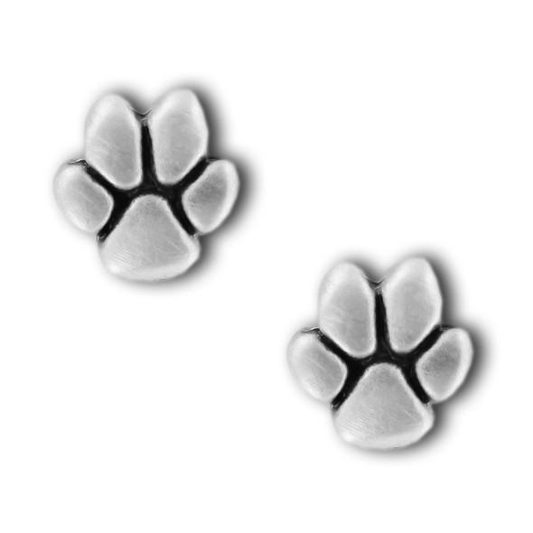 Paw Print Pewter Stud Earrings 2539EP