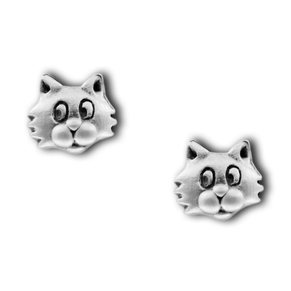 Cat Face Pewter Stud Earrings 2575EP