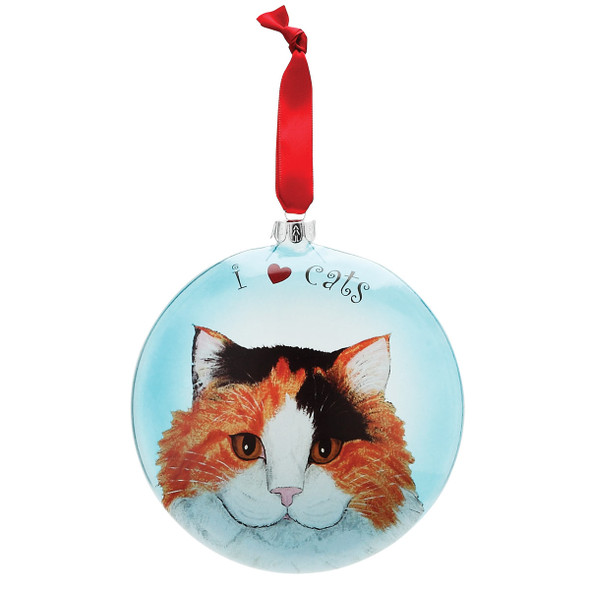 "Tina Long Hair Calico 5"" Glass Cat Christmas Ornament 45411"