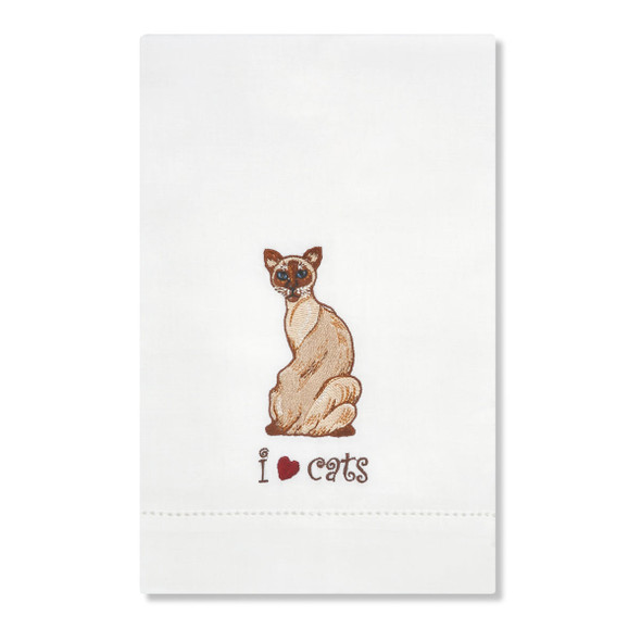 Siamese Cat Embroidered Tea Towel 45420