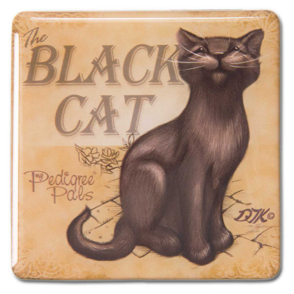 Black Cat Square Cat Magnet 46068