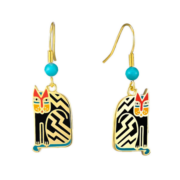 Aztec Cat Laurel Burch Earrings Black - 5087