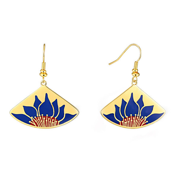 Lotus Blue Laurel Burch Earrings - 5089