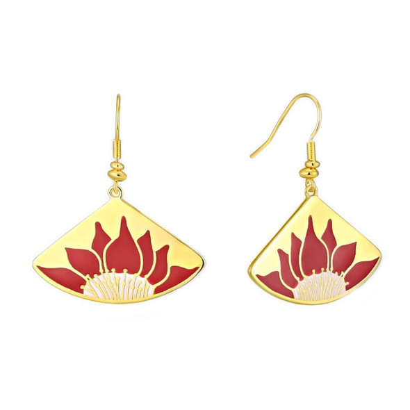 Lotus Red Laurel Burch Earrings - 5088