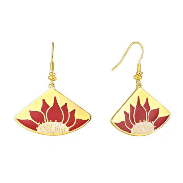 Lotus Red Laurel Burch Earrings - 5088