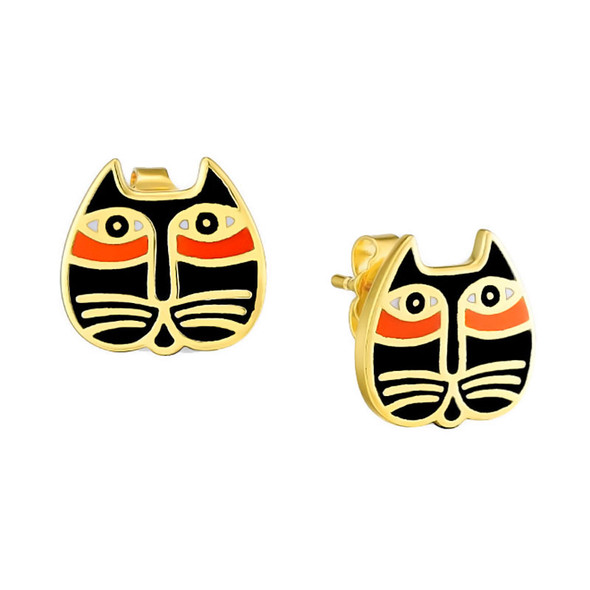 Mystic Cat Face Laurel Burch Earrings Post Black - 5077