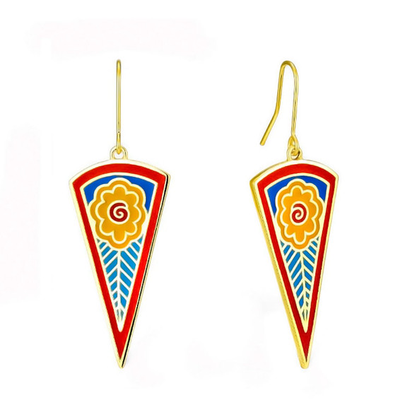 Red Wildflower Bloom Laurel Burch Earrings - 5094
