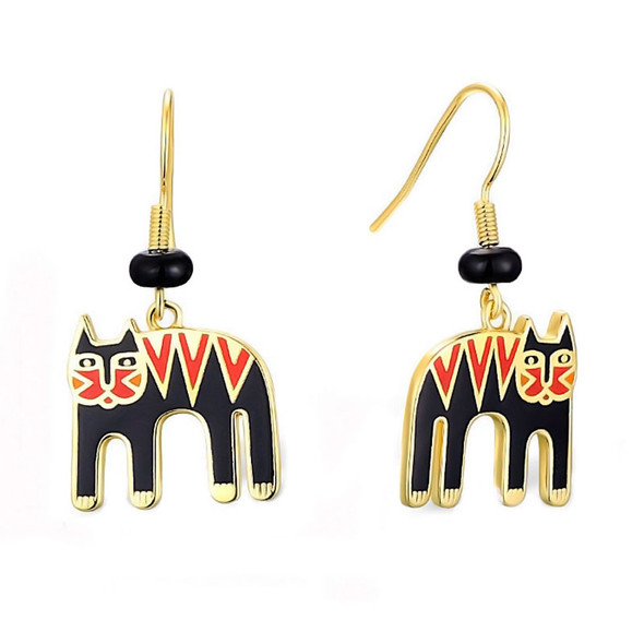 Magicat Cat Laurel Burch Earrings Black Red - 5105