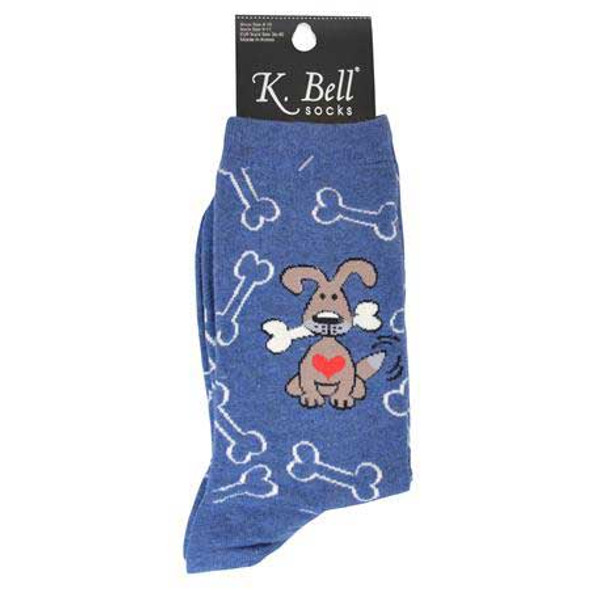 "Dog Socks ""Dogs with Bones"" Denim Heather F15H073-01"