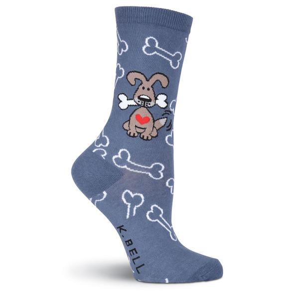 "Dog Socks ""Dogs with Bones"" Denim Heather F15H073-01"