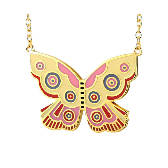 Summer Butterfly Pink Laurel Burch Necklace - 5100