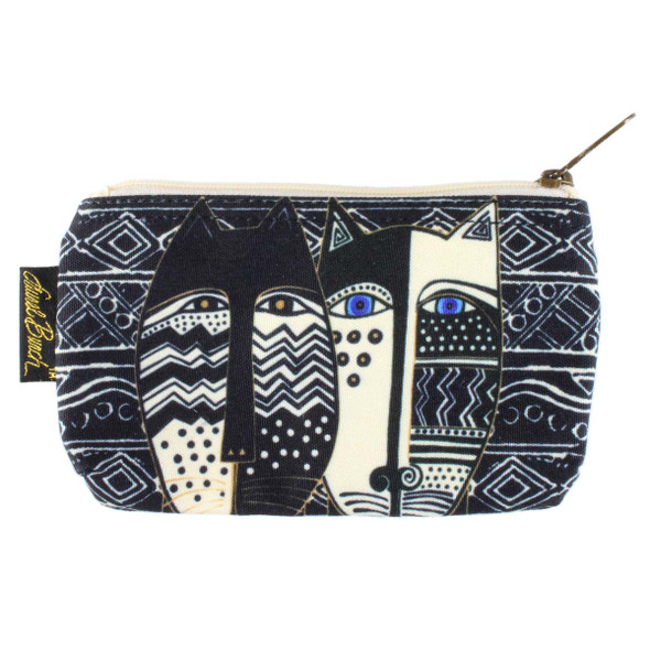 Laurel Burch 7x4 Cosmetic Bag Wild Cat Black White LB5804A