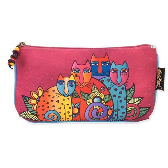 Laurel Burch Three in One 3 in 1 Cosmetic Bag Feline Clan Cat Dots Medium