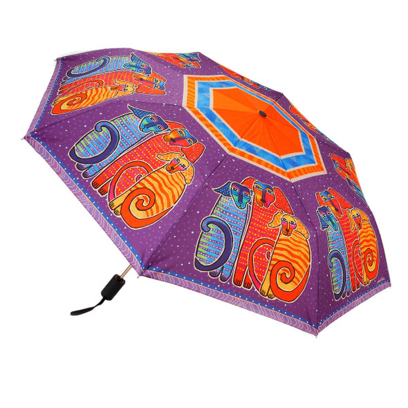 Laurel Burch Compact Folding Umbrella Canine Friends