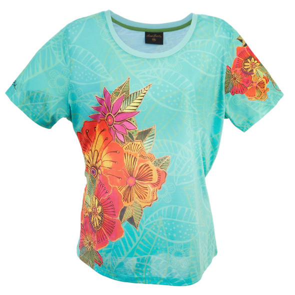Laurel Burch Tee Shirt Teal Flora