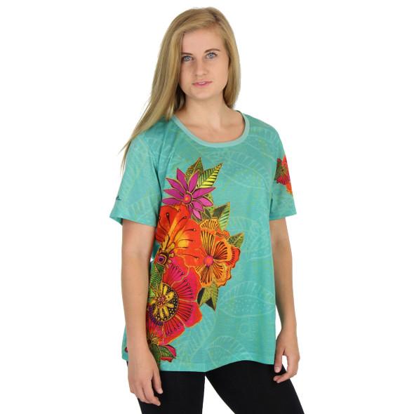 Laurel Burch Tee Shirt Teal Flora LBT046