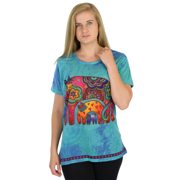 Laurel Burch Tee Shirt Bohemian Whiskers Teal LBT041