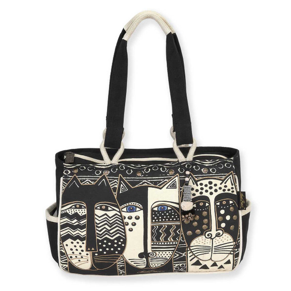 Laurel Burch Wild Cat Black White Medium Pocket Tote