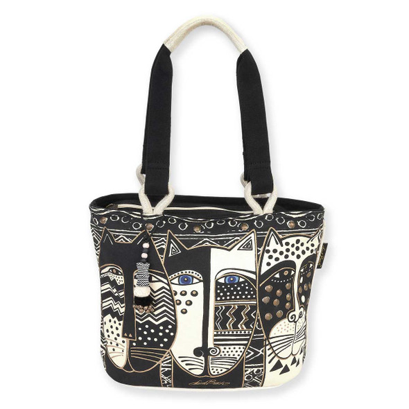 Laurel Burch Wild Cat Black White Medium Tote