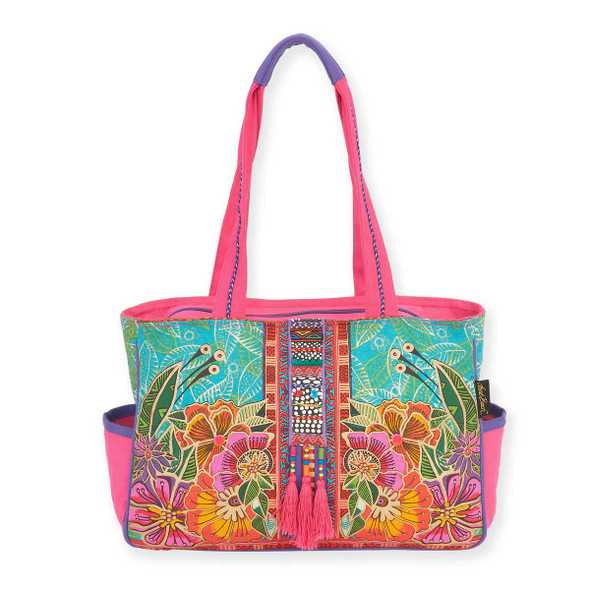 Laurel Burch Colorful Flora Floral Medium Pocket Tote