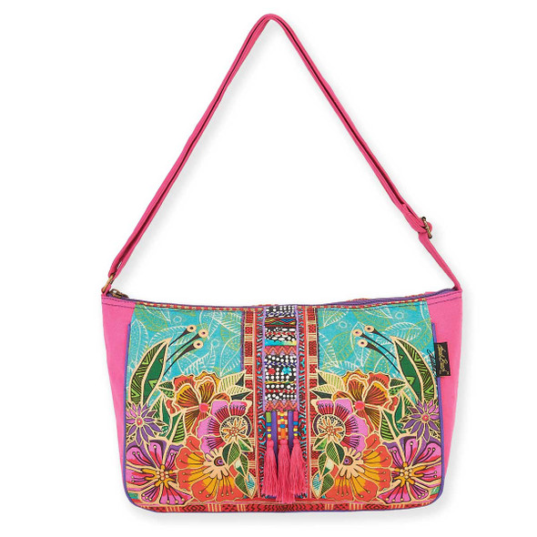 Laurel Burch Colorful Flora Floral Medium Crossbody Tote