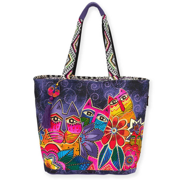 Laurel Burch Laurels Garden Cat Floral Shoulder Tote