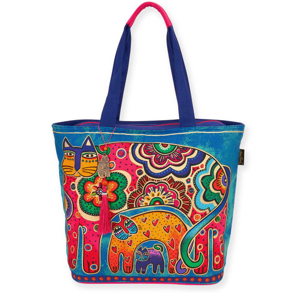 Laurel Burch Bohemian Whiskers Cats Shoulder Tote