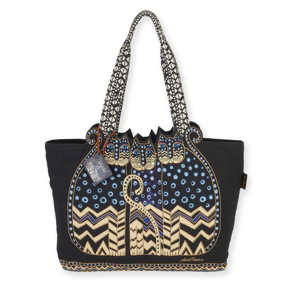 Laurel Burch Gatos Polka Dots Cats Large Cutout Shoulder Tote