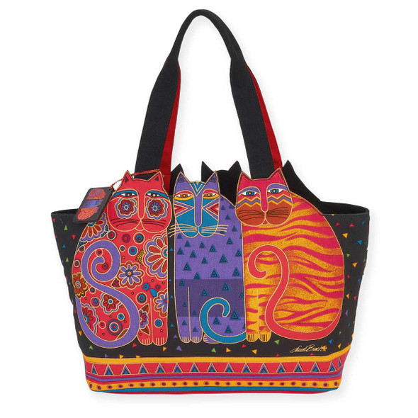 Laurel Burch Indigo Blue Cats Large Cutout Shoulder Tote